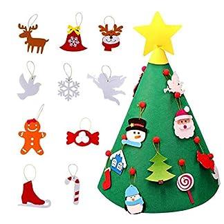 Beetest 3D DIY Fieltro Árbol de Navidad con 18 unids Niño Adorable Árbol de Navidad Adornos Colgantes para Niños Navidad Decoraciones para El Hogar
