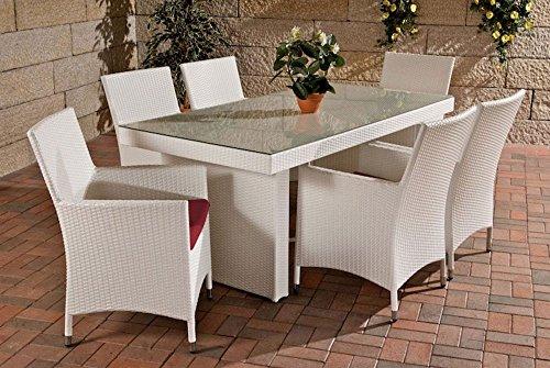 Gartenmöbel Gartenmöbel Set, Sitzgarnitur Avignon, rubin-rot / weiß, Polyrattan-Aluminium-Gestell, Gartengarnitur, Sitzgruppe