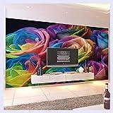 BHXINGMU Benutzerdefinierte Wandbild Wallpaper Moderne Wohnzimmer Tv Hintergrundbild Romantische Rose Flower Wallpaper Für Schlafzimmer Wände 3D 60Cm(H)×90Cm(W)