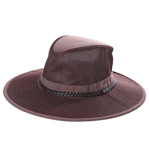 SiggiHat Faltbarer Herren Safari Hut Australian Adventure Breite Krempe Cowboyhut Kaffeebraun L