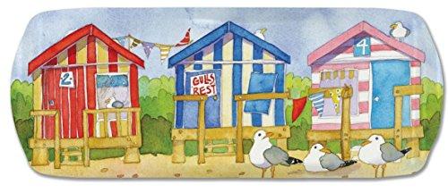 BEACH HUTS - BESIDE THE SEA - Emma Ball Colourful Melamine Sandwich Tray - 40cm by Melamaster -