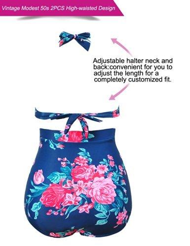 FeelinGirl Vintage Damen Frauen Bademode Bikini High Waist - Bauchweg - Plus Size -2017 Blau und Rosa