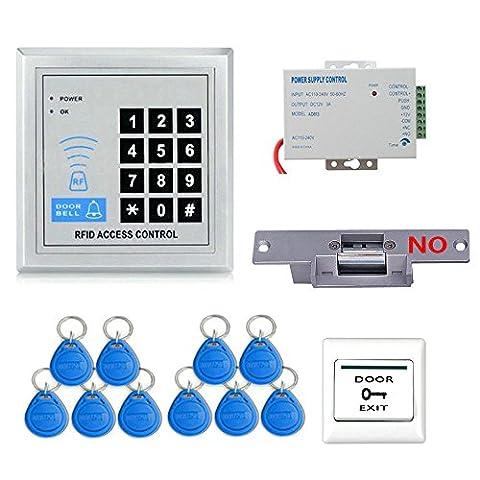 GAMWATER Full RFID Tür Access Control System Set (Electric Strike Lock + rohrleitungsarmatur Frontplatte, + Access Control Netzteil + Push-Release-Taste + Proximity Tür Eintrag Keypad + 10 Schlüsselanhänger) Einheit