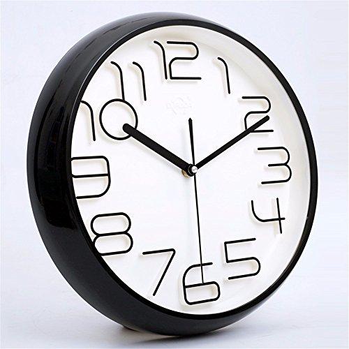 ZloveM Wanduhr ohne Tickgeräusche Küchenuhr, Wohnzimmer Uhr, Büro Wanduhr Flur Wanddeko Stereo Digital Moderne Quarzuhr 35 CMI
