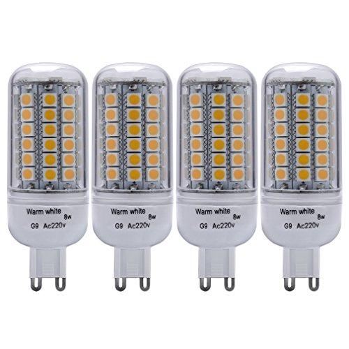 Auralum® 4er 8W G9 500LM Warmweiß Fadenlampe LED Mais Licht Ersatz 60-100W Glühlampe Ersatzlampe für Tischlampe Kronleuchter Leuchtmittel & Birne(8W 69LED) 2 Jahre Garantie