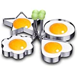 CONNECTWIDE® Set Of 4 OMELETTE STENCIL SHAPE MAY VARY: Fried Egg Mold Non Stick Stainless Steel Omelette Pancake Rings Cooking Tools.