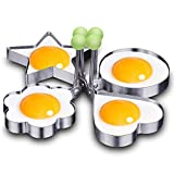#10: CONNECTWIDE® Set of 4 OMELETTE STENCIL SHAPE MAY VARY: Fried Egg Mold Non Stick Stainless Steel Omelette Pancake Rings Cooking Tools.