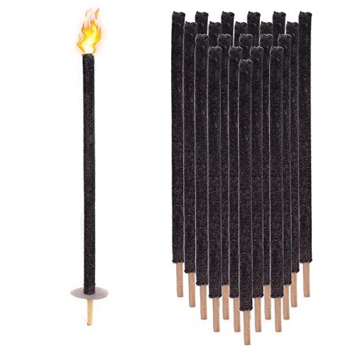 Pre&Mium Extérieur flambeaux en cire cire de torches 70 Min flambeaux Torches de jardin 75 cm avec protection main (Lot de 21)