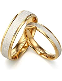 Gemini Valentine's Day Free Engrave Groom & Bride 18K Yellow Gold Filled Matching Anniversary Wedding Couple Ring, UK Size H to Z6
