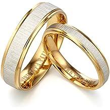 Dos tonos Anillo de oro Anillo de plata Anillo de compromiso(con grabado personalizable,