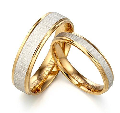 GEMINI Alliances jeunes mariés, Alliances en or jaune 18K,...
