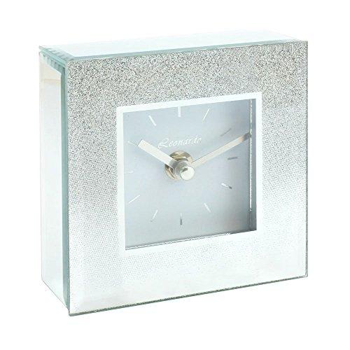 Quadratische Uhr, silber, Glitzer