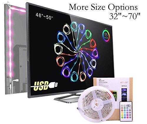 """Nastri Led TV Bias Light ,Impermeabile RGB USB Striscia LED Kit con Telecomando 16 colori Retroilluminazione TV PC Illuminazione interna Celebrazioni di Festival Pangton villa 48""""-50"""""""