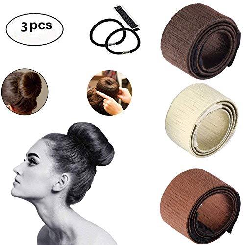 Accessori per Donne Capelli Ciambelle ARay 3 Pezz Hair Magic Capelli Accessori per Chignon Beige Marrone Chiaro Marrone Scuro