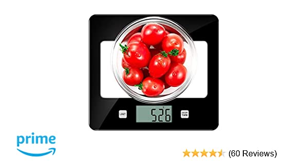 CUSIBOX Kitchen Scales Glass Digital Food Scales, 11Ib/5kg Kitchen Scales  with LCD Backlit Tare Function, Electric Weighing Scales Measuring in g,  oz,