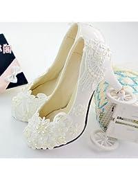 JINGXINSTORE Las mujeres hechas a mano nupcial del zapato de la boda del alto talón rebordean los zapatos blancos...
