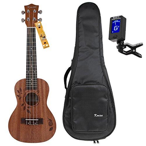 Kmise Konzert Ukulelen Uke Acoustic Hawaii Gitarre 23 Zoll Ukelele mit Tasche und Stimmgerät 18 Frets Sapele