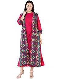 Khushal Cotton Printed Long Lenght Designer Dress With Seprate Jakit/Shrug, Anarkali Long Dress With Jakit Kurta...