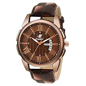 Espoir Analogue Brown Dial Day and Date Men's Boy's Watch - Joseph0507