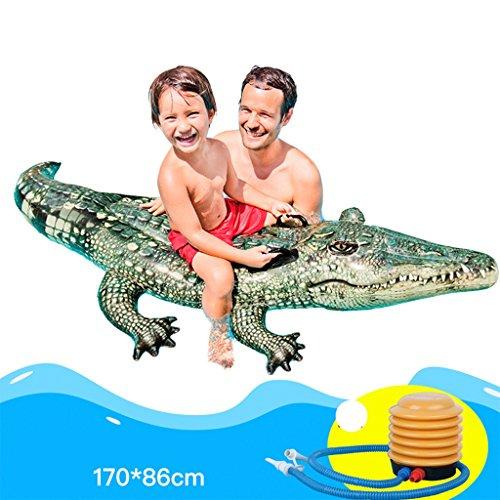 Hochwertige Pool Float Schwimmendes Bett Wasser-Reittau-Erwachsen-Kind-aufblasbares Spiel-Spielwaren 3D Krokodil-sich hin- und herbewegende Reihe verdicken Kinder, die Ring 170 * 86cm schwimmen KKY-ENTER