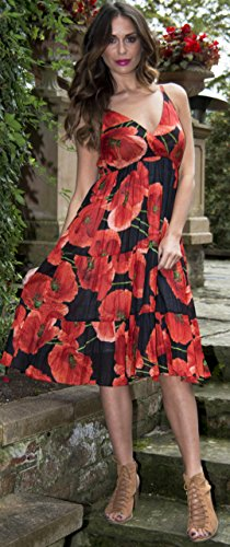 Ladies 100% Cotton Poppy Print Strappy Mid Length Summer Dress with Crossover V Neck, Red, Medium