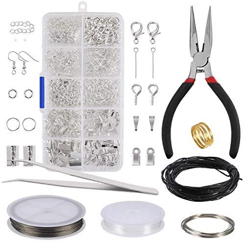Generic Schmuckherstellung Kit Schmuck Reparatur Kit Schmuck Zubehör Herstellung und Anfänger Werkzeug Kit Enthält Zange, Pinzette, Silber Zubehör und Draht - Zange Silber