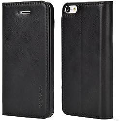 Mulbess Coque iPhone 5C, Étui Coque en Cuir pour iPhone 5C [Housse Pochette Portefeuille avec Slim Book Style] Noir