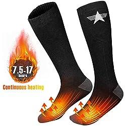 EEIEER Chaussettes Chauffantes Rechargeables, 3.7V 4000mAh 7.5-17 Heures Durable Lavable Chaussettes Chauffantes pour Femme Homme, Chauffe-Pieds pour Cyclisme Ski Camping Randonnée Chasse