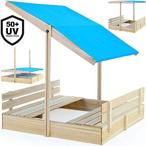 Deuba Sandkasten mit Sitzbänken 120x120cm mit höhenverstellbarem und neigbarem Sonnendach UV-Schutz >50 Sandkiste Kindersandkasten Buddelkiste Sandbox Sandkiste Kinder