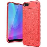 FindaGift Huawei Honor 10 Funda, TPU Suave Ultra Delgado [Inastillable][A prueba de choques][Protección completa] Bumper A prueba de huellas Back Cover con base antideslizante para Honor 10 (Rojo)