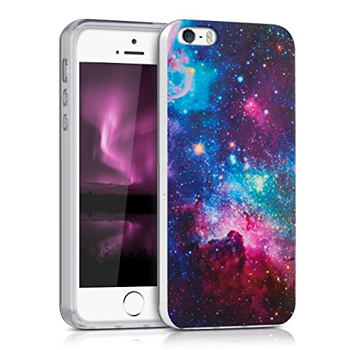 kwmobile Hülle für Apple iPhone SE / 5 / 5S - TPU Silikon Backcover Case Handy Schutzhülle - Cover Metallic Blau Space IMD Pink Schwarz