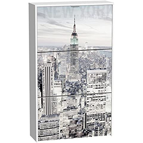 Suarez H306-3 - Zapatero, 3 niveles, diseño Manhattan, 750 x 242 x 1268 mm, color blanco