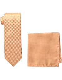 Steve Harvey Men's Tall Extra Long Neat Solid Necktie and Neat Solid Pocket Square