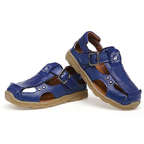 Dayiss® Jungen Mädchen Leder Sandalen Sport- & Outdoor Schuhe Sandaletten Blau