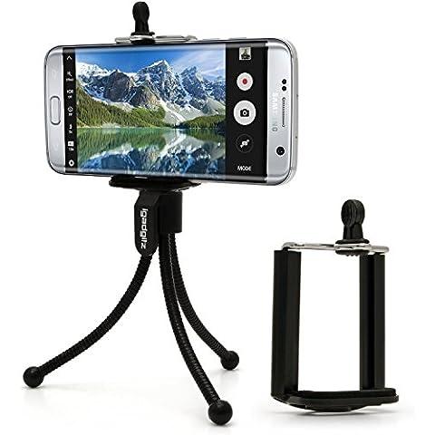 igadgitz Negro flexibles Mini Trípode de Mesa con Clip de bolsillo + Soporte Adaptador Standard para Smartphone