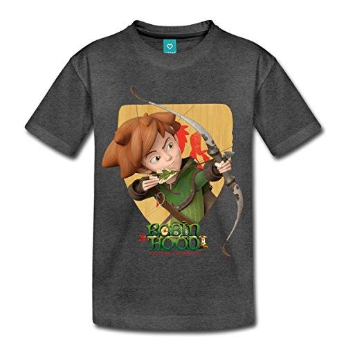 Spreadshirt Robin Hood Schießt mit Seinem Bogen Kinder Premium T-Shirt, 122/128 (6 Jahre), Anthrazit