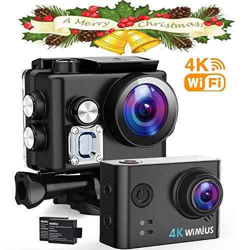 WiMiUS 4K Action Cam Wi-Fi 16MP Ultra FHD Impermeabile 40M Immersione Sott'Acqua Camera con Schermo 2 Pollici 170 Gradi Ampia Vista Grandangolare/Due 1000mAh Batterie/20 Accessori all'Interno