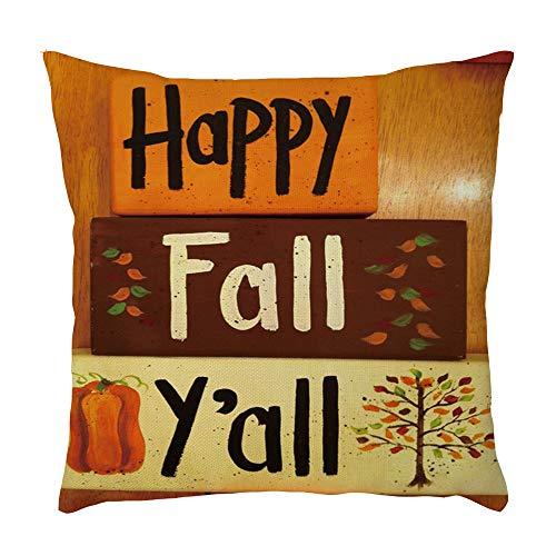 Aiserkly Happy Fall Y'All Pattern Fodera Per Cuscino Fodera Per Cuscino Copridivano Divano Home Car Decor (A,45x45cm)