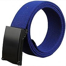 Kentop Unisex Plástico Cinturón Hombre Mujer Lienzo plástico Cinturón  Deportes cinturón con automática cinturón Hebillas 57e8b2a1bb16