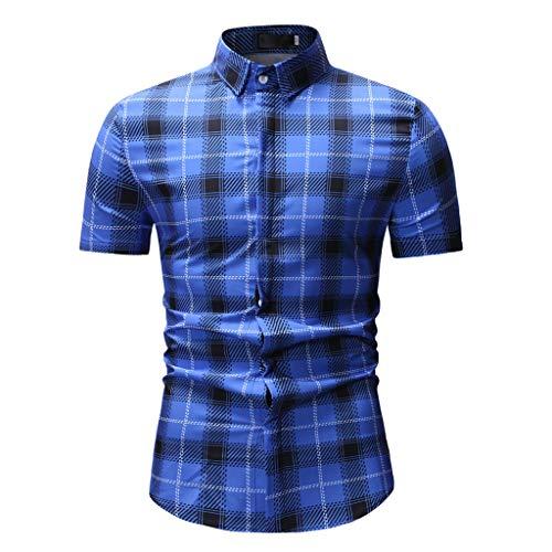 (UJUNAOR Herrenhemd Kurzarm Revers Sommermode Shirt Hemd für Männer(Blau,CN 2XL))