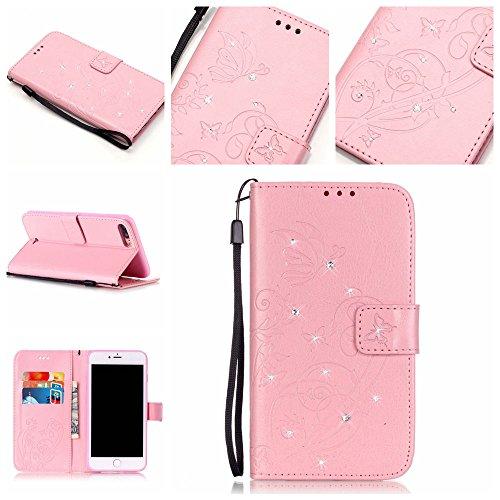 Briller Cristal Strass iPhone 7 Plus Coque Or, étui Apple iPhone 7 Plus 5.5 pouce, Rabat Style Cuir Case Portefeuille Case Carte Titulaire Fleur Motif Embossage Rose