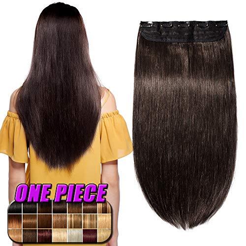 Clip in Extensions Echthaar Haarverlängerung Remy Echthaar 1 Tresse günstig Human Hair Haarverdichtung 55cm-100g(#2 Dunkelbraun)