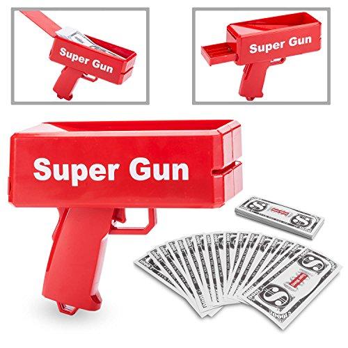 r Money Gun Spielzeug Geld Pistole Party Revolver verschießt Fake Dollar Banknoten für Supreme Fun (Wahnsinnige Kostüme)