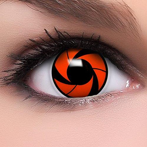 Sharingan Kontaktlinsen Rai's Mangekyou in rot inkl. Behälter - Top Linsenfinder Markenqualität, 1Paar (2 Stück)