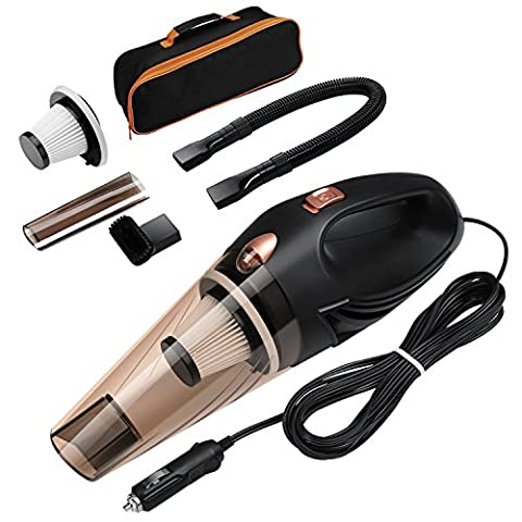 Car Vacuum Cleaner, Oria 12V 106W Handheld Wet and Dry Auto Vacuum Cleaner, 4 in 1 Portable Car Hoover with 16.4FT (5M) Power Cord, 2 HEPA Filters and Storage Pocket for