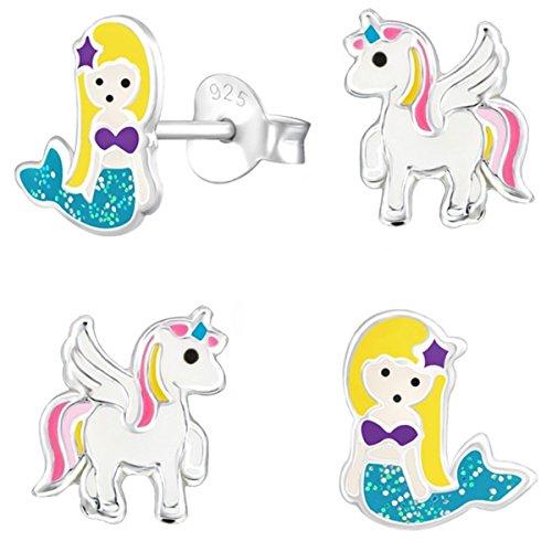 2 Paar Pegasus Einhorn + Glitzer Meerjungfrau Ohrstecker 925 Echt Silber Mädchen Kinder Ohrringe (Pegasus Pink-Weiß)