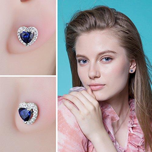 JewelryPalace Runde Herz Des Ozeans 1.2ct Synthetisch Blau Saphir Ohrstecker 925 Sterling Silber ohrring stecker - 4