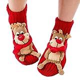 Natale calze antiscivolo maglione caldo calze per la casa per le donne Caldo inverno calze scaldino interno calze cartoon 3D animali per le donne (Renna)