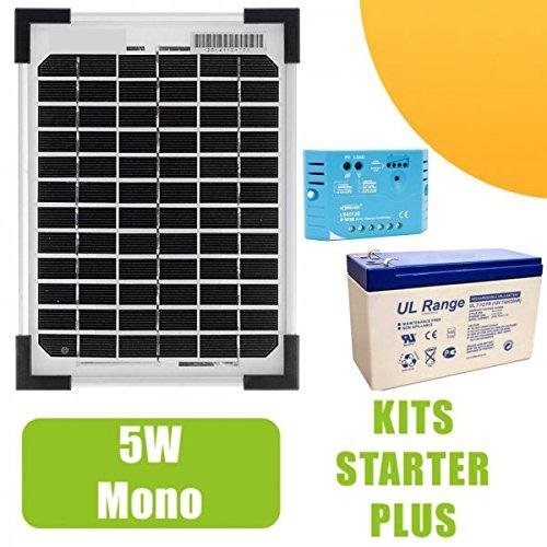 Kit Panel Solar 5W Tipo Silicona monocristalina gama profesional 12V con regulador de carga 5A y batería 12V 7Ah. Para pequeñas instalaciones solares necesarios para el funcionamiento de luces pequeños, una bomba o de cualquier otro dispositivo ...