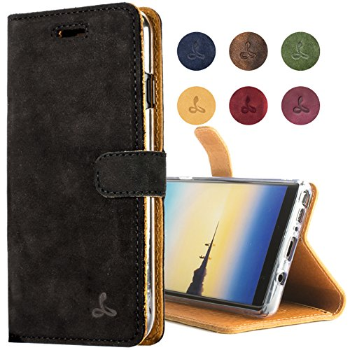 Snakehive Samsung Galaxy Note 8 Case, Luxury Genuine Leather Wallet with Viewing Stand and Card Slots, Flip Cover Gift Boxed and Handmade in Europe for Samsung Galaxy Note 8 - Black